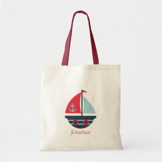 Red and Blue Sailboat Fat and Round Tote Bag