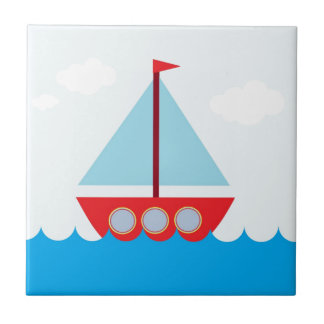 Red and Blue Sailboat on the Sea Small Square Tile