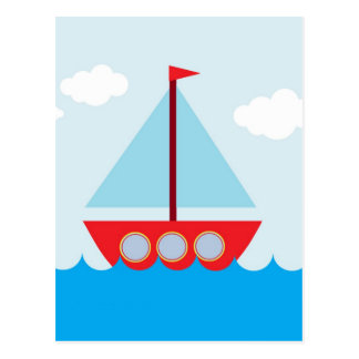 Red and Blue Sailboat Postcard
