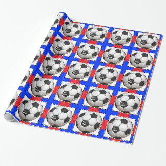 red and blue soccer wrapping paper