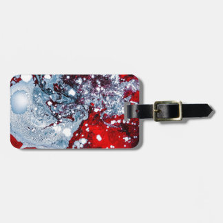 Red and Blue space marble Luggage Tag