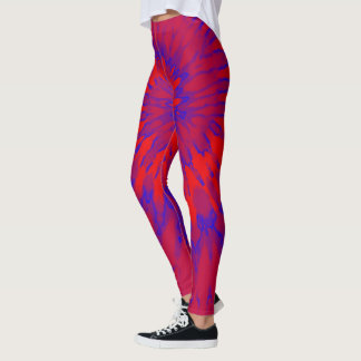 Red and Blue Spiral Tie Dye Leggings