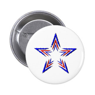 red and blue star 6 cm round badge