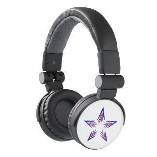 red and blue star headphones