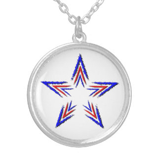 red and blue star round pendant necklace