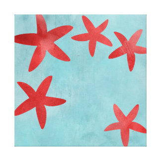 Red and Blue Starfish Canvas Print