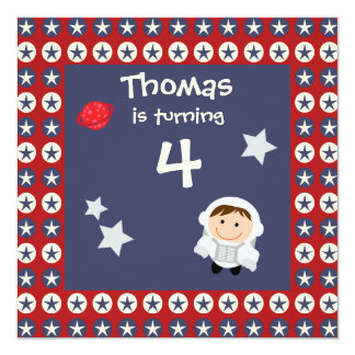 Red and Blue Stars Astronaut Birthday Party Invite