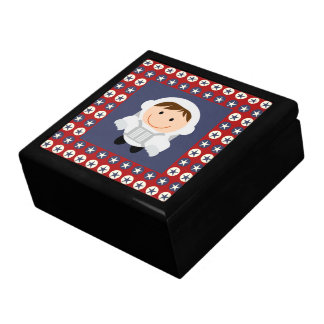 Red and Blue Stars Astronaut Large Square Gift Box