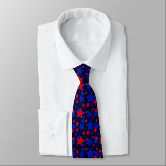 Red and Blue Stars Pattern Tie