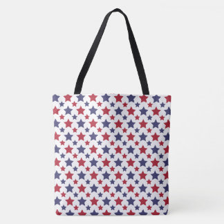 Red and Blue Stars Tote Bag