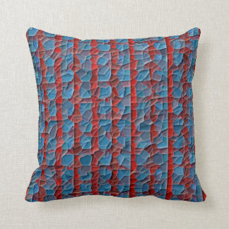 Red And Blue Striped Mosaic Mojo Pillow Cushion