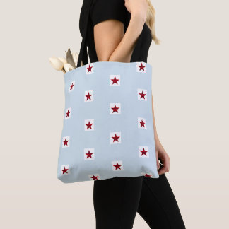 Red And Blue Striped Star Pattern Blue Tote Bag