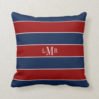 Red and Blue Stripes and Monogram Cushion