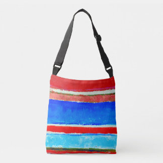 Red and Blue Summer Stripes Crossbody Tote
