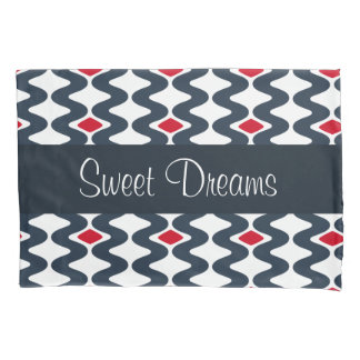 Red and Blue Swirl Pillowcase
