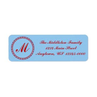 Red and Blue Thai Style Round Monogram Frame Return Address Label