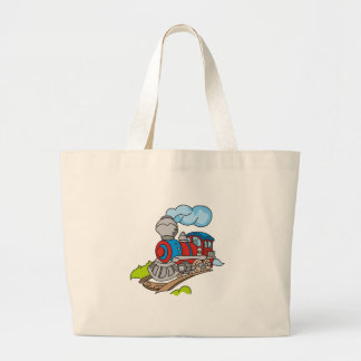Red and Blue Train Jumbo Tote Bag