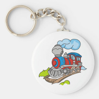 Red and Blue Train Key Chain