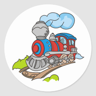 Red and Blue Train Round Sticker