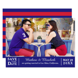 Red and Blue Unique Typography Photo Save the Date Card