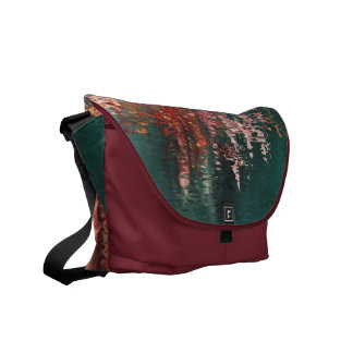 Red and blue water reflections abstract messenger bags