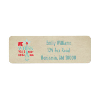 Red and Blue Whisk You a Merry Christmas Return Address Label
