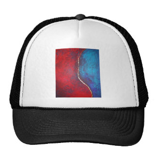 Red and Blue with Gold Philip Bowman Abstract Art Trucker Hat