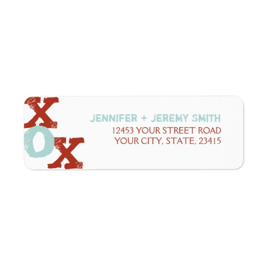 Red and Blue XOX Wedding Return Address Label