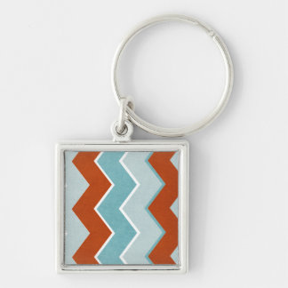 Red and Blue Zig Zag Pattern Silver-Colored Square Key Ring