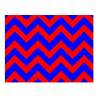 Red and Blue Zig Zags Postcard