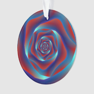 Red and Blues Spiral Rose Ornament