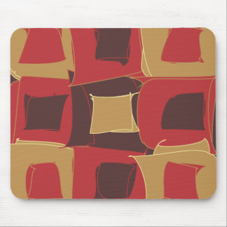 Red and Brown Abstract Geometric Shape Mouse Pad