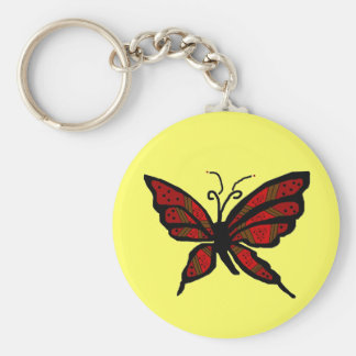 Red and Brown butterfly key chain