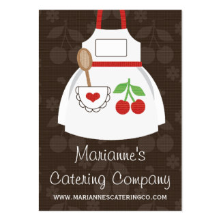 Red and Brown Cherry Heart Apron Business Cards