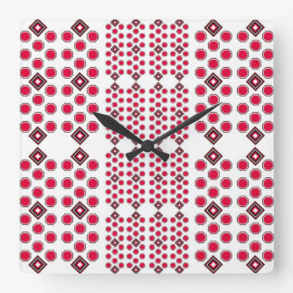 Red and Brown Geometric Wall Clock