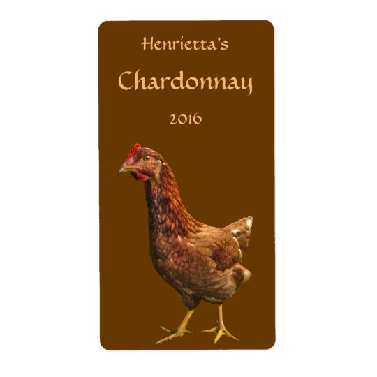 Red and Brown Hen Chicken Wine Labels