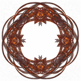 Red and Brown Ornate Wreath Frame Photo Cutout