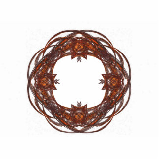 Red and Brown Ornate Wreath Frame Pin Photo Sculpture Badge