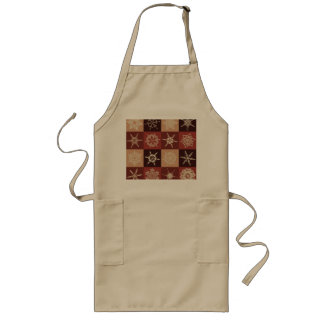 Red And Brown Snowflakes Pattern Long Apron