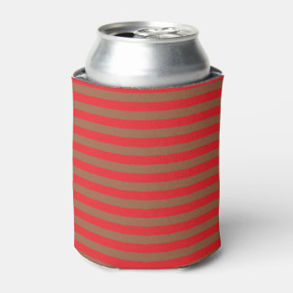 Red and Brown Stripes Can Cooler