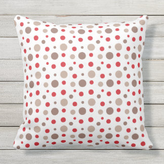 Red and Cappuccino Color Polka Dots Outdoor Cushion