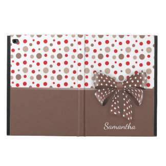 Red and Cappuccino Polka Dots and Chocolate Ribbon