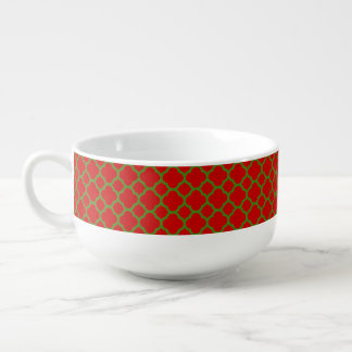 Red and Christmas Green Quatrefoil Pattern Soup Bowl With Handle