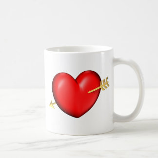 Red and chubby heart with golden arrow basic white mug