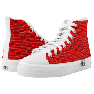 Red and Claret Geometric Pattern Zipz High Tops