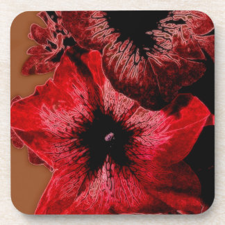 Red And Claret Petunia Coaster