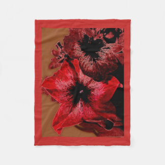 Red And Claret Petunia Fleece Blanket