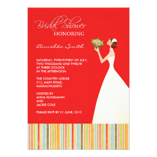 Red and Colored Stripes Bridal Shower Invites