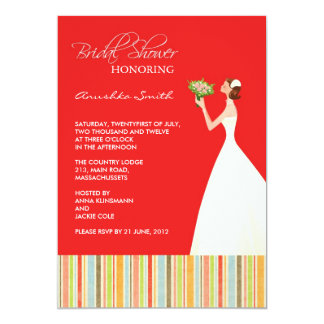 """Red and Colored Stripes Bridal Shower Invites 5"""" X 7"""" Invitation Card"""