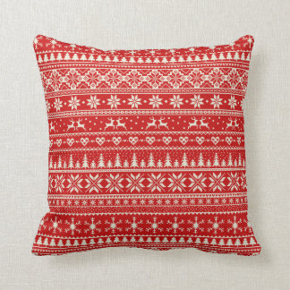 Red and cream Alpine Christmas pattern Cushion
